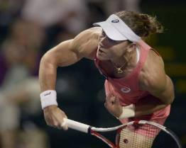 Samantha Stosur of Australia serves to Mona Barthel of Germany during their match at the BNP Paribas Open tennis tournament in Indian Wells, California, USA, 12 March 2013. EPA/PAUL BUCK